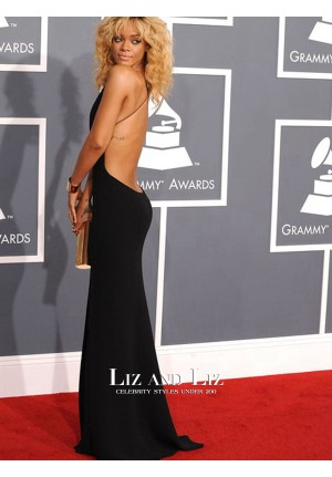 Rihanna Black Plunging V-neck Celebrity Dresses Grammys 2012 Red Carpet