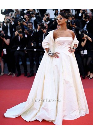 Rihanna White Strapless Dress With Coat Cannes 2017