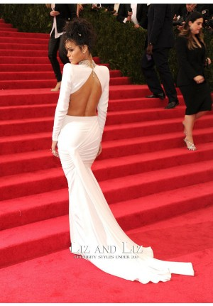 Rihanna White Two-piece Mermaid Prom Dress Met Gala 2014 Red Carpet