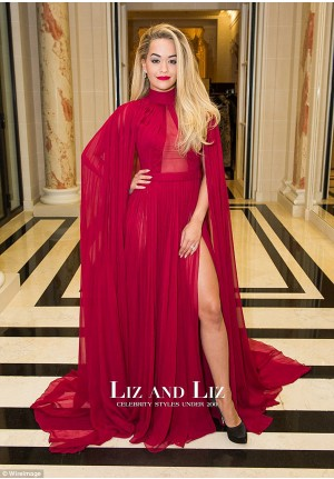 Rita Ora Red Chiffon Evening Prom Gown Celebrity Dress Paris Fashion Week