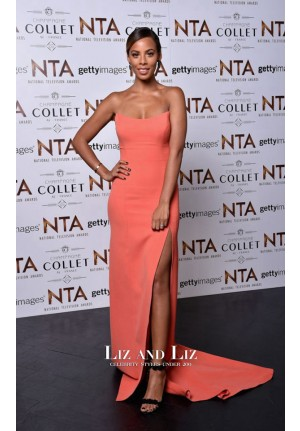 Rochelle Humes Coral Strapless Dress National Television Awards 2016