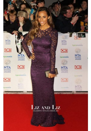 Rochelle Humes Purple Lace Prom Dress National Television Awards 2014