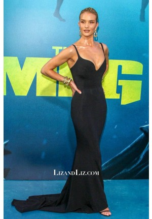 Rosie Huntington-Whiteley Black Formal Prom Celebrity Dress The Meg Premiere