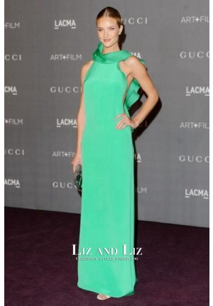 Rosie Huntington-Whiteley Green Celebrity Dress LACMA 2012 Art Film Gala