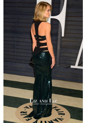 Rosie Huntington-Whiteley Green Sequin Dress Vanity Fair Party 2015