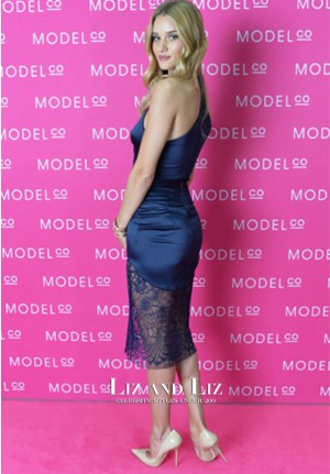 Rosie Huntington-Whiteley Navy Satin Cocktail Dress ModelCo Launch Sydney