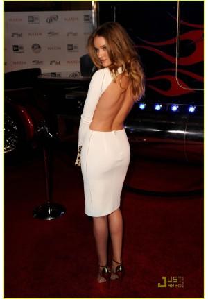 Rosie Huntington-Whiteley White Long-sleeve Dress Maxim Hot 100 Party