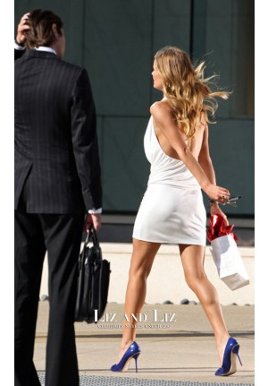 Rosie Huntington-Whiteley White Halter Cocktail Party Dress Transformers 3