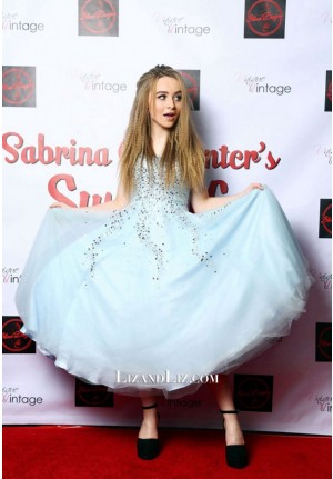 Sabrina Carpenter Blue Strapless Ball Gown Sweet 16 Birthday Party Dress