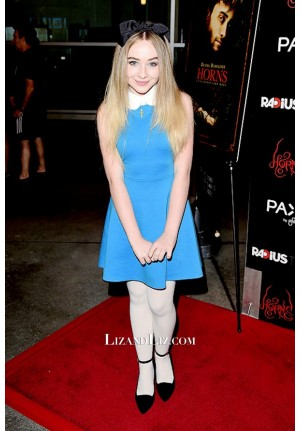 Sabrina Carpenter Short Blue Cocktail Party Celebrity Dress Horns Premiere