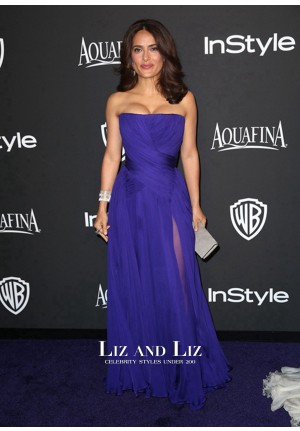 Salma Hayek Blue Strapless Chiffon Prom Dress Golden Globes Party 2015