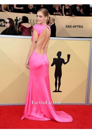 Samara Weaving Pink Plunging V-neck Satin Celebrity Dress SAG Awards 2018