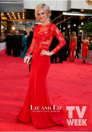 Samara Weaving Red Lace Long-sleeve Celebrity Dress Logies 2013 Red Carpet
