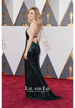 Saoirse Ronan Green V-neck Sequin Dress Oscars 2016 Red Carpet