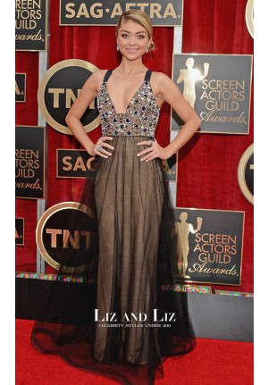 Sarah Hyland Black Halter Beaded Red Carpet Dress SAG Awards 2015