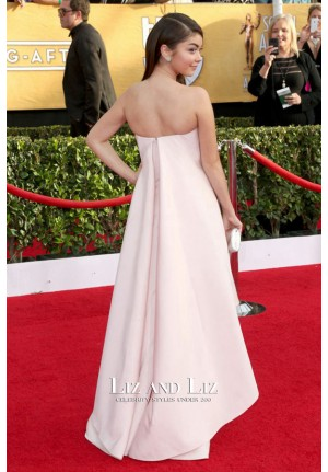 Sarah Hyland Pink Strapless Prom Dress 2014 SAG Awards Red Carpet