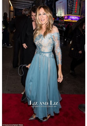 Sarah Jessica Parker Blue Off-the-shoulder Lace Chiffon Dress 42nd Street Gala