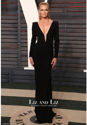 Sarah Murdoch Black Long-sleeve Dress Vanity Fair Oscar Party 2016