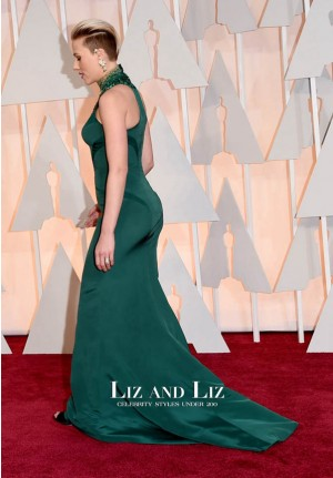 Scarlett Johansson Green Evening Prom Oscars 2015 Red Carpet Dress