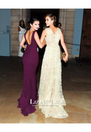 Selena Gomez Burgundy Sleeveless V-neck Dress Met Gala 2014 Red Carpet