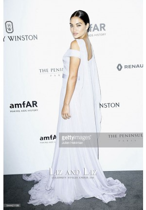 Shanina Shaik White Off-the-shoulder Chiffon Celebrity Dress AmfAR Paris Dinner