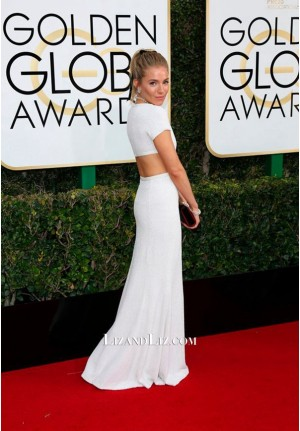 Sienna Miller White Cut-out Celebrity Prom Dress Golden Globes 2017 Red Carpet