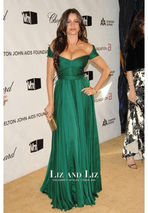 Sofia Vergara Green Off-the-shoulder Red Carpet Dress Oscars Party 2008