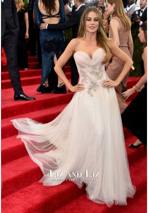 Sofia Vergara Pink Sweetheart Tulle Prom Gown 2015 Met Gala Red Carpet