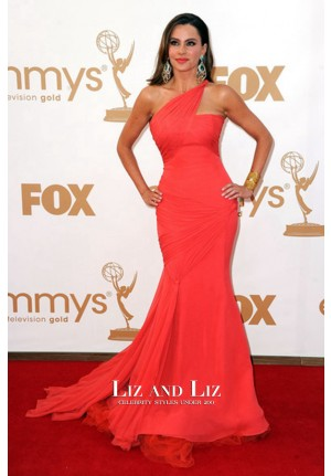 Sofia Vergara Coral One-shoulder Mermaid Red Carpet Dresses Emmys 2011