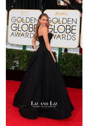 Sofia Vergara Black Ball Gown Prom Dress Golden Globes 2014 Red Carpet
