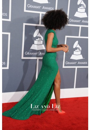 Solange Knowles Green Sequin Celebrity Dresses Grammys 2013 Red Carpet