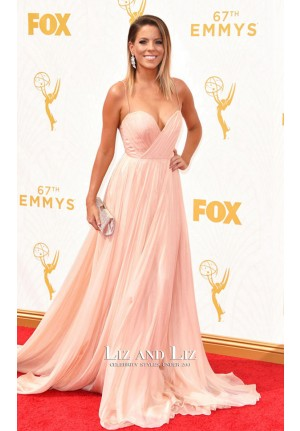 Stephanie Bauer Pink Chiffon Evening Prom Red Carpet Dresses Emmys 2015