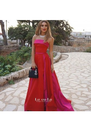 Stephanie Saliba Inspired Red Strapless Satin Celebrity Dress Evening Prom Gown