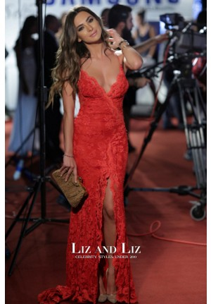 Stephanie Saliba Red Lace Evening Prom Celebrity Dress BIAF 2014 Red Carpet