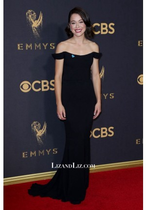 Tatian Maslany Black Off-the-shoulder Celebrity Dress Emmy Awards 2017