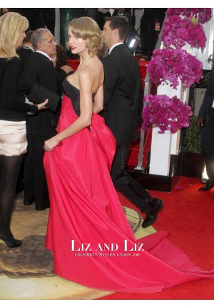 Taylor Swift Black and Fuchsia Prom Golden Globes 2014 Red Carpet Dress