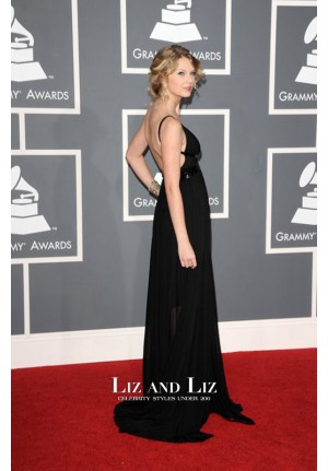 Taylor Swift Black V-neck Formal Prom Grammys 2009 Red Carpet Dress