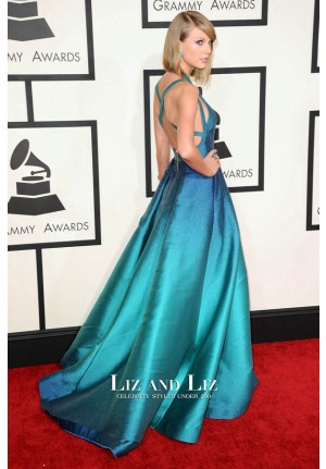 Taylor Swift Blue Formal Evening Prom Red Carpet Dress Grammys 2015