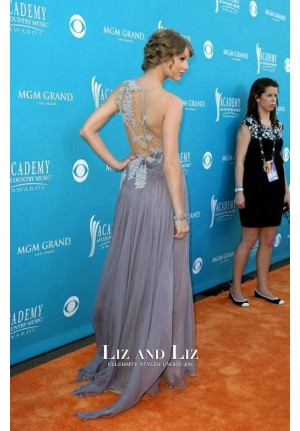 Taylor Swift Lavender Embroidered Celebrity Dress Country Music Awards 2010