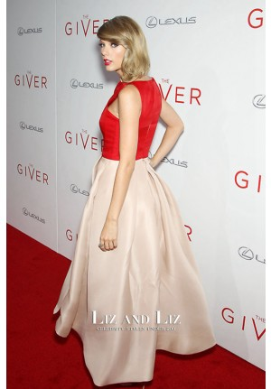 Taylor Swift Red and Nude Celebrity Dress The Giver New York Premiere