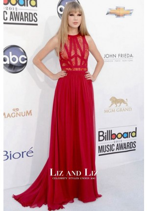 Taylor Swift Red Lace Chiffon Celebrity Dress Billboard Music Awards 2012