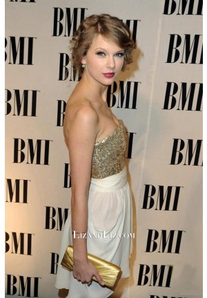 Taylor Swift Short Strapless Sequin Chiffon Cocktail Party Homecoming Dress