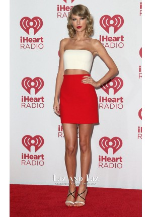 Taylor Swift Red and White Two-piece Dress iHeart Radio Music Festival