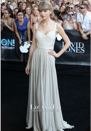 Taylor Swift Ivory Lace Chiffon Celebrity Prom Dress 2012 ARIA Awards Red Carpet
