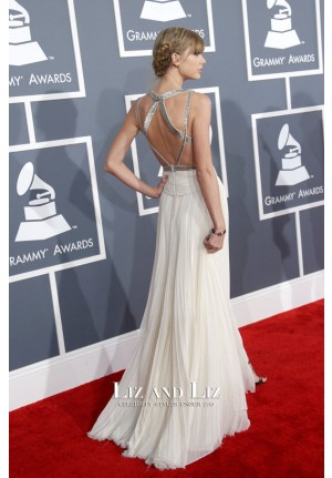 Taylor Swift White Chiffon Evening Prom Celebrity Dress Grammys 2013 Red Carpet