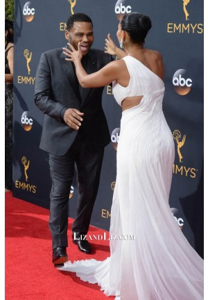 Tracee Ellis Ross White One-shoulder Evening Prom Dress Emmy Awards 2016