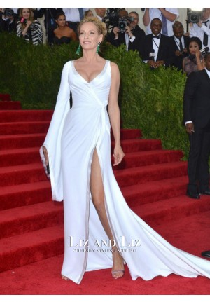 Uma Thurman White One-shoulder 2015 Met Gala Red Carpet Dresses