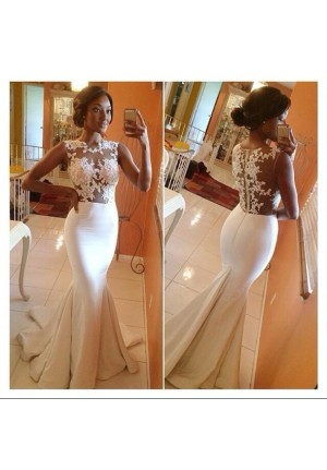 White Floral Lace Mermaid Celebrity Dresses Evening Prom Wedding Gown