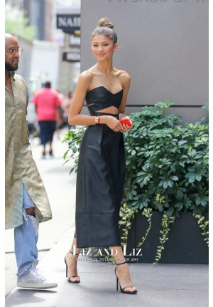 Zendaya Black Cut-out Jumpsuit Celebrity Outfit Out In New York City