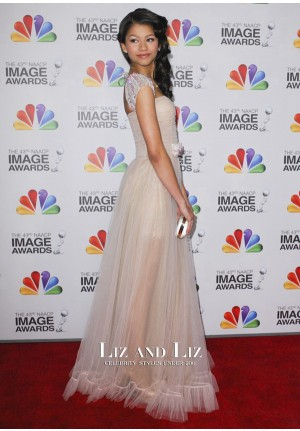 Zendaya Cap-sleeve Prom Dress NAACP Image Awards 2012 Red Carpet